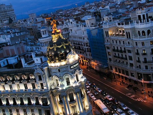 The view of the iconic Metropolis building from the Circulo de Bellas Artes encapsulates many of the amazing buildings found in Madrid
