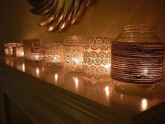 Lace jar candle holders: Decor, Ideas, Lace Candles, Candles Holders, Candle Holders, Glasses Jars, Mason Jars Candles, Diy, Masonjars