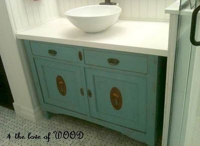 Gorgeous re-purposed vanity from 4 The Love of Wood in Langley, BC.
