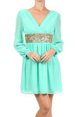 Roman Goddess Long Sleeve Sequin Dress - Mint + Gold - $57.00 | Daily Chic Dresses | International Shipping