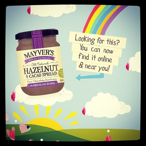 Looking for a #sugarfree #guiltfree #chocciehit? You can now buy this baby online at http://www.aussiehealthproducts.com.au/spreads-and-tahini.php?id=73739&Mayvers-Hazelnut-Cacoa-Spread-GF-250g or view the list of Coles stores at http://www.mayvers.com.au/wp-content/uploads/2013/09/MAYVERS-STORE-LISTINGS-HAZELNUT-CACAO.pdf
