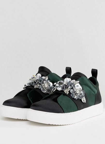 Embellished sneakers with sequins and gems