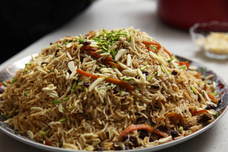 Afghan lamb pilaf (Kabuli pulao) on afghan food safari add garam masala cumin if not in this recipe