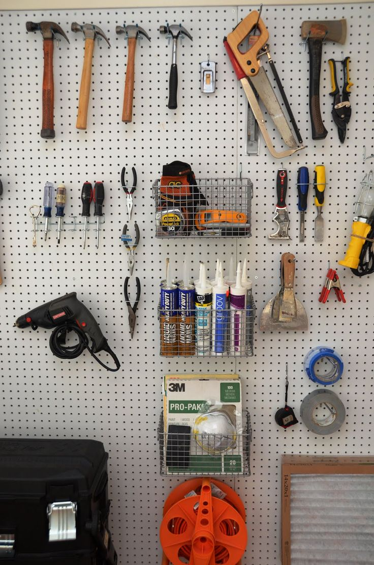 Use pegboard for storing tools and equipment, it's great because it's adjustable, has a neat appearance and within view. #pegboard #organization #tools