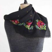 Vintage black wool scarf with floral border.