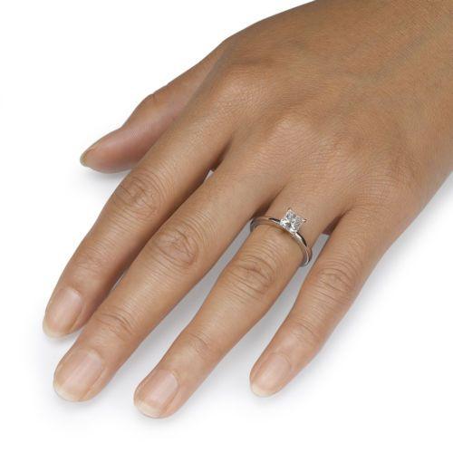 1 CT Large Princess Cut Enhanced Diamond D / VS1 14k White Gold Engagement Ring