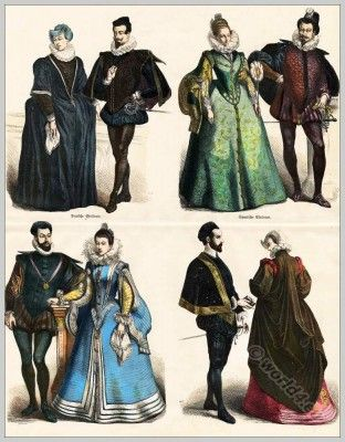 Spanish fashion court dress, Farthingale, Millstone collar, ruff, 16th centuries costumes