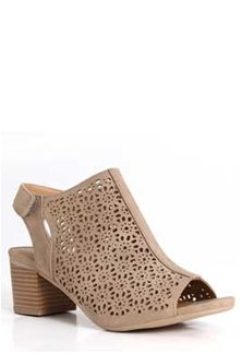 86fe2cd1fbd City Classified Elect Perforated Peep Toe Heels in Taupe ELECT-S-LTTAUPE