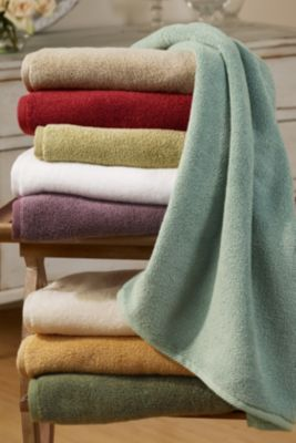 A relaxing and indulgent master bath with soft, thirsty towels to wrap up in after a long soak...  KS.     Cloud Soft Towel from Soft Surroundings