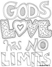 God's Love Has No Limits: printable doodle coloring pages
