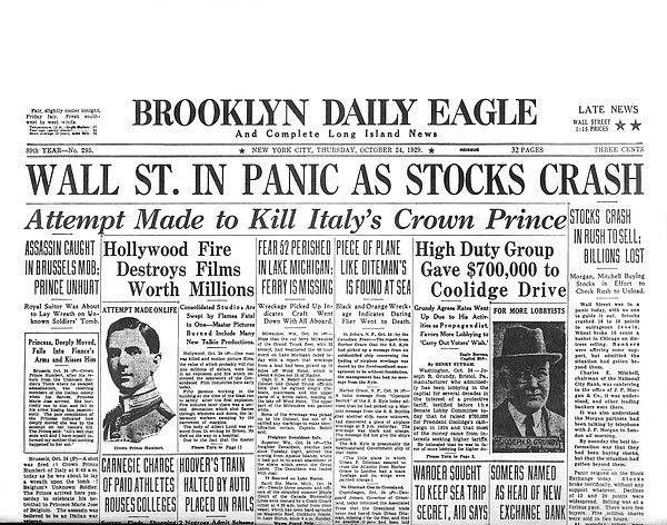 beginning of stock market crash 1929 apush