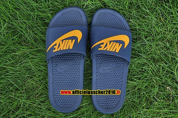 Officiel Nike Benassi JDI QS Nike sandales Pas Cher Pour Homme Jaune - Bleu