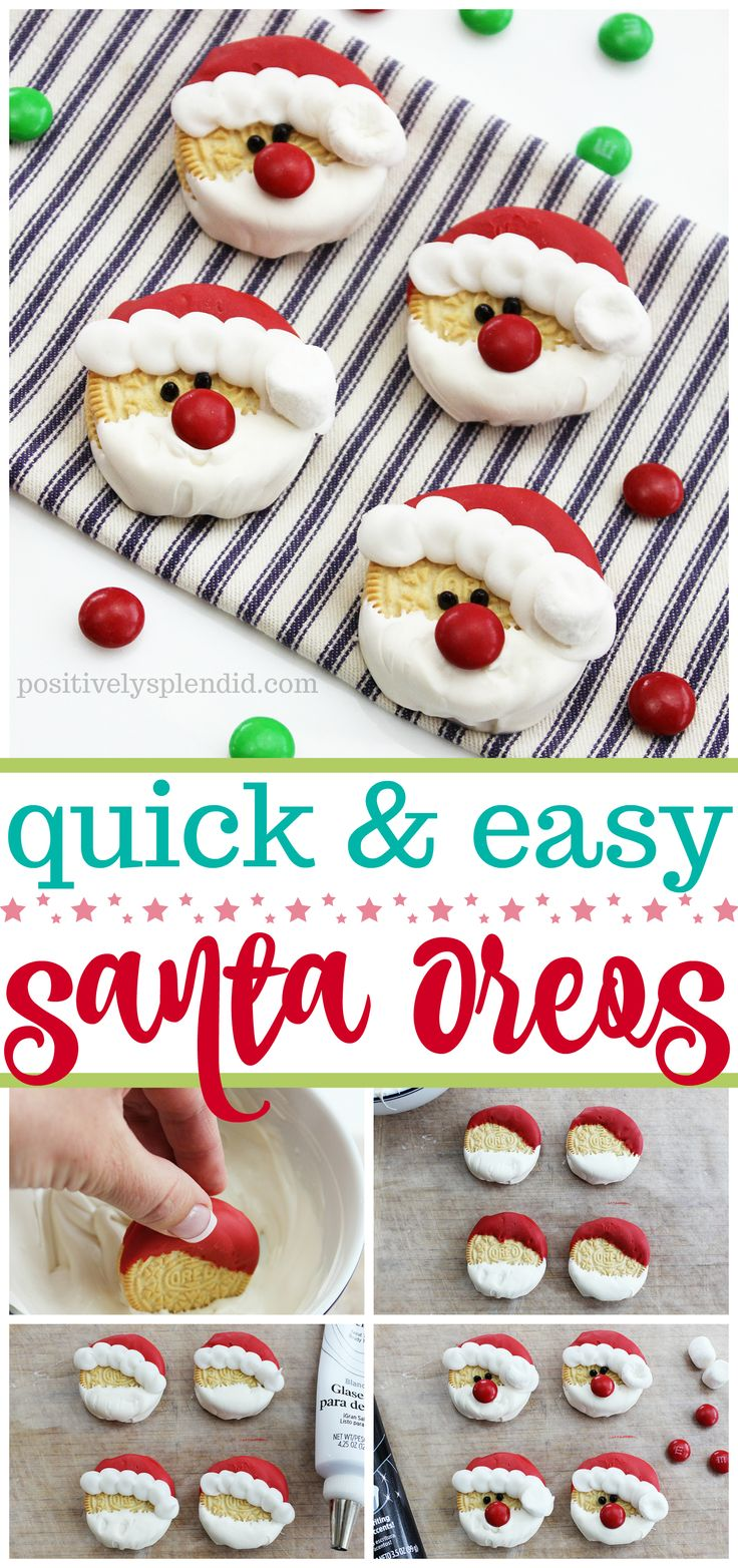 Santa Oreos - Such an easy and cute Christmas treat idea to make with kids!