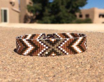 Items similar to Midnight Desert Flower Bead Loom Bracelet Bohemian Boho Artisanal Jewelry Indian Western Beaded Southwestern Black Purple Santa Fe on Etsy