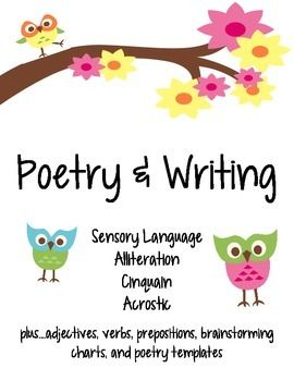 Included in this pack: -sensory language brainstorm -writing template page with checklist -adjectives / verbs anchor chart -sensory langage poem template -acrostic poem - definition, example, & 5 templates -cinquain poems - example, explanation of cinquain, templates -alliteration poems - definition, example, brainstorm, template -prepositions - fill in the blank by looking at picture, follow directions and draw according to prepositional phrase