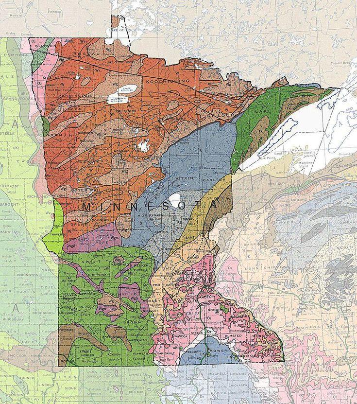 A Map of Minnesotau0027s geology and rocks