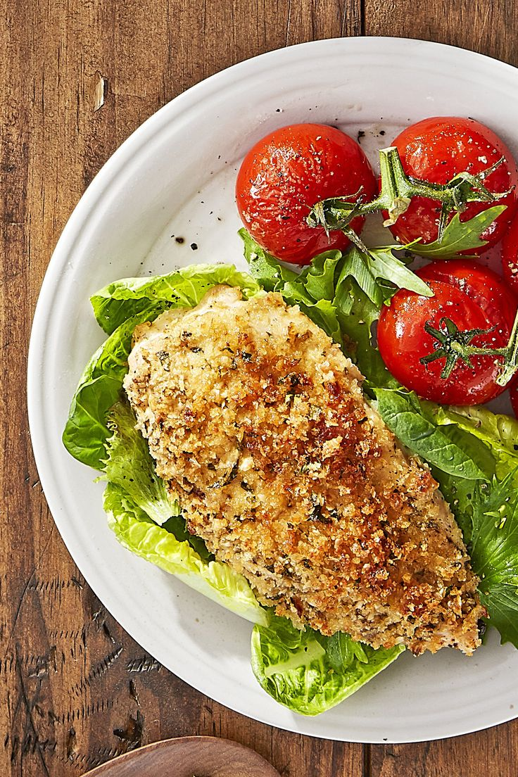 Bursting Campari tomatoes pair perfectly with parmesan and panko-covered chicken cutlets.