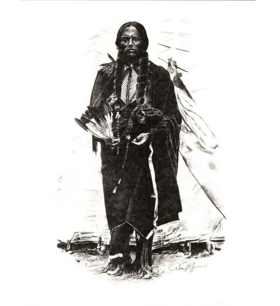 Chief QUANNAH PARKER Pencil Drawing American Indian Art Print Signed by Artist DJ Rogers