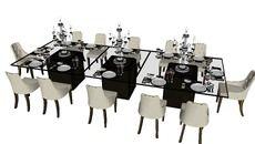 3D Model of sala de jantar 12 pessoas mesa montada para jantar