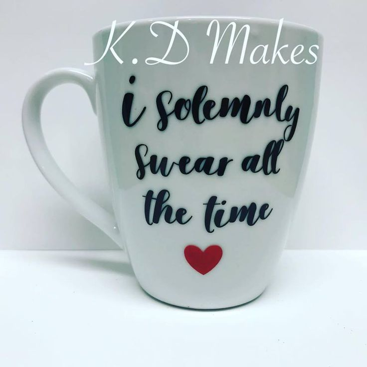 Custom Made Mug * heart * red * I solemnly swear all the time * black