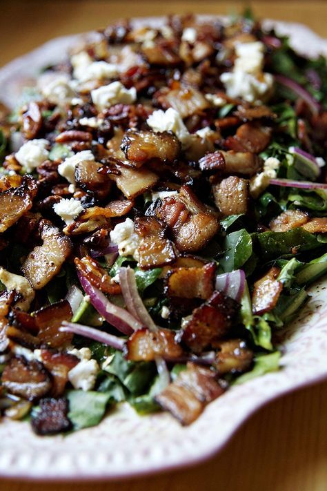 Dandelion Green Salad with Warm Bacon Dressing   http://biscuitsandsuch.com/2017/03/24/dandelion-green-salad-with-warm-bacon-dressing/