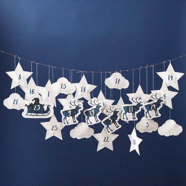 Betsy Benn Decoration Santa And Reindeer Hanging Advent Calendar