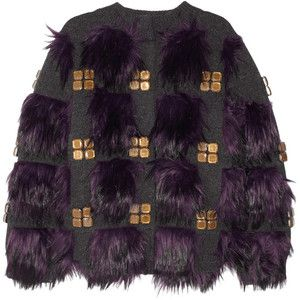 Marc Jacobs Faux fur and crystal-embellished stretch-wool cardigan
