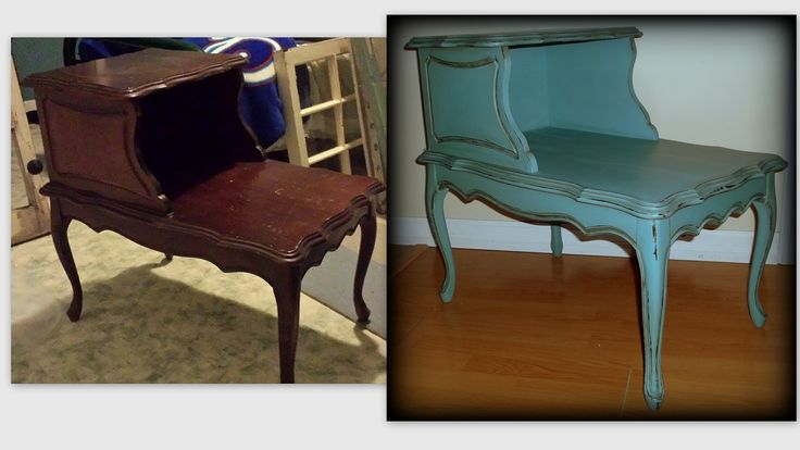 1963 Table transformed using Annie Sloan Provence with light and dark wax.