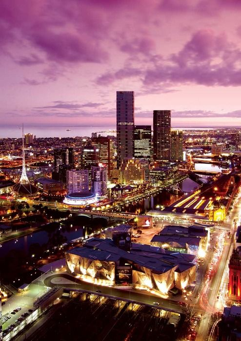 Federation Square, Eureka Residential Tower, Arts Centre Spire and Concert Hall and Southbank precinct
