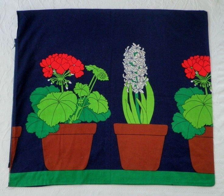 Vtg Scandinavian Fabric Sham Bag Flower Pot E Helenius Oy Anneli Airikka Lammi #eheleniusoy #anneli #airikkalammi #scandinavian #fabric #mcm #midcentury #floral