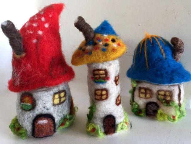 Needle felted fairy garden houses Set of 3 Gnome Toadstool cottages decorations OOAK by ConchyGemDolls on Etsy