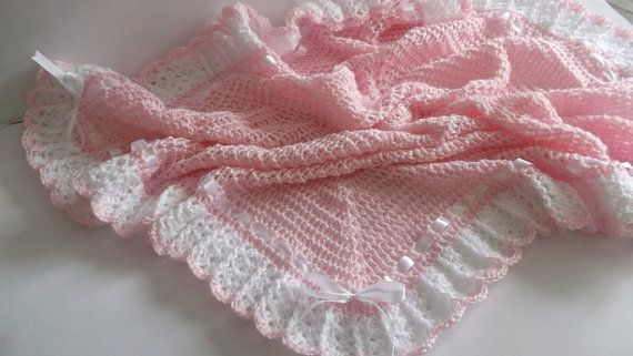 Crochet Baby Blanket / Afghan White by HandmadeByHallien on Etsy