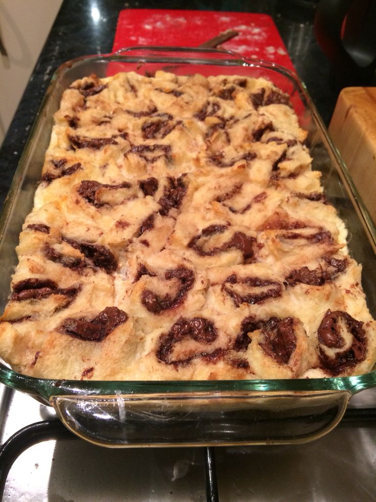 Nutella bread and butter pudding..... Yep that's what I said !! mmmmmmm own recipe too