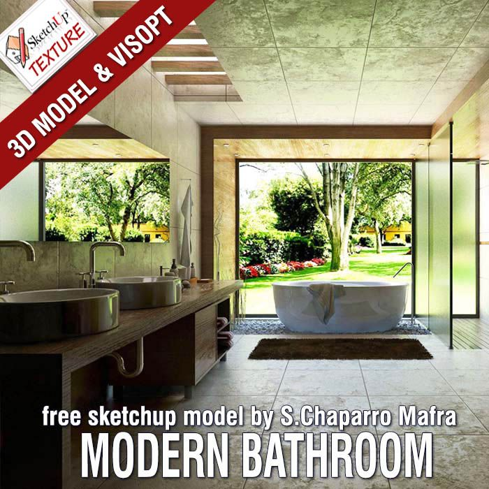 Amazing Free Sketchup Model And Visopt Modern Bathroom By By Sergio Chaparro Mafra Download