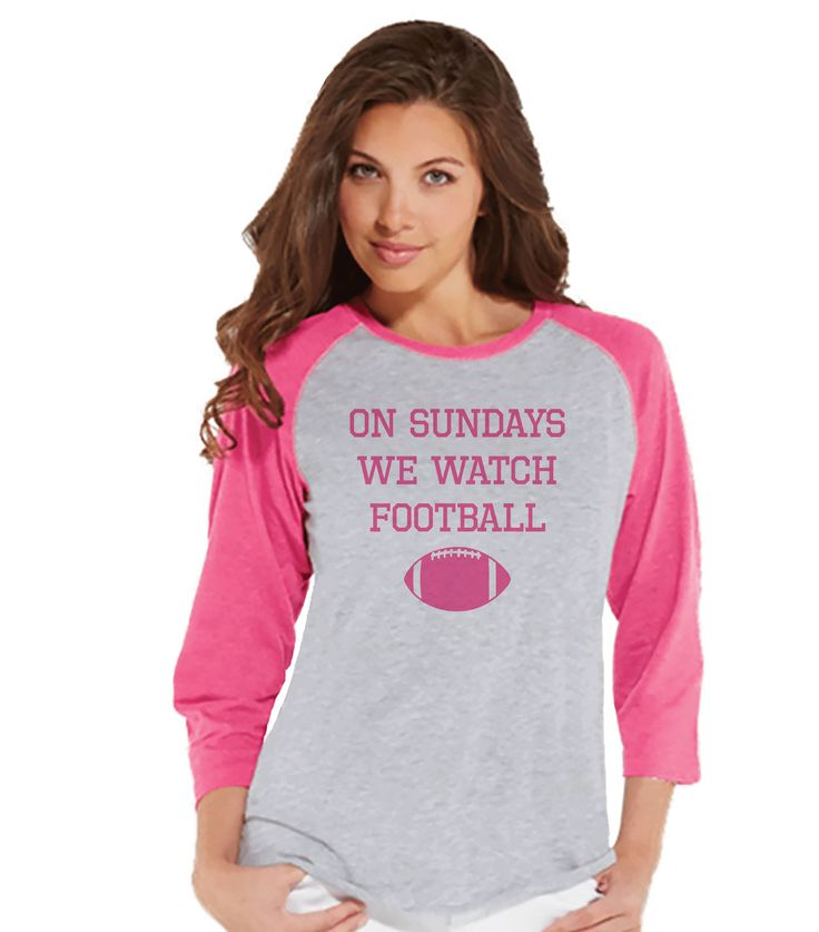 Women's Football Shirt - On Sundays We Watch Football - Pink Football Shirt - Womens Pink Raglan - Sports Tshirts - Football Lover Gift