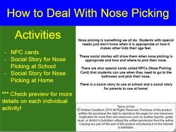 Nose picking is something we all do. Students with special needs just dont know when it is appropriate or how it makes other kids their age feel. These social stories will show them when nose picking is appropriate and how and where to pick their nose.