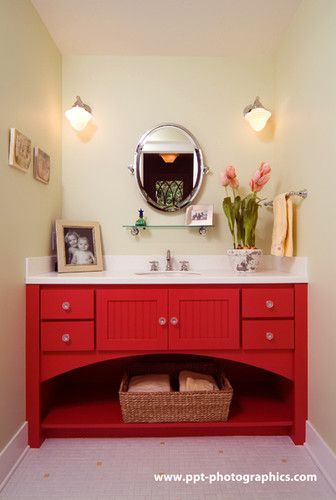 #Red #bathroom Cabinets Add Interest To An Otherwise Neutral Bathroom