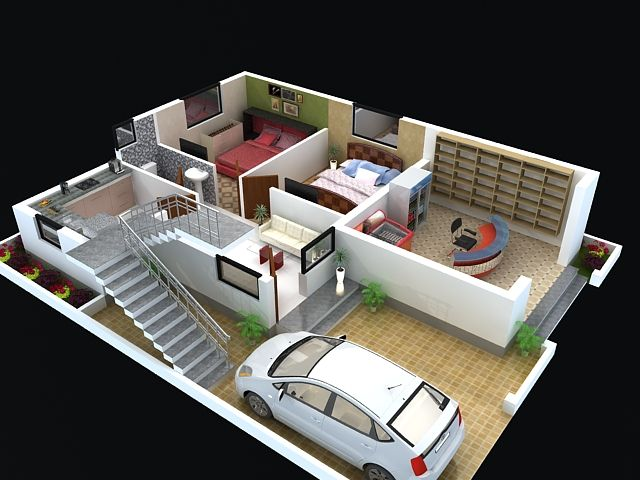 Pin by Apnaghar on 3D Floor Plan  House layout plans Bungalow house design House plans