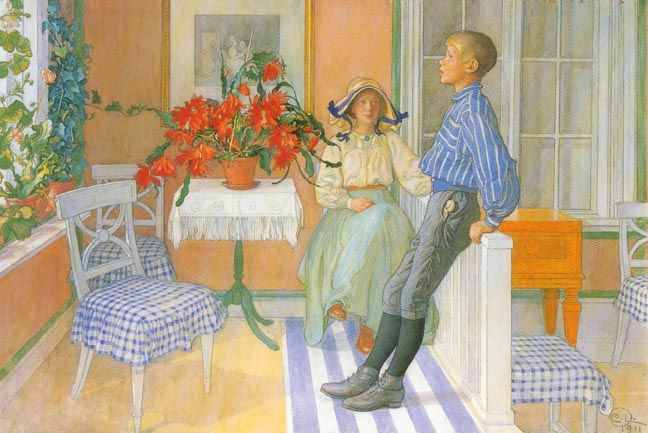 """Carl Larsson's favorite subject for his paintings were his own children and home.   """" The pictures of family and home became the most imme..."""