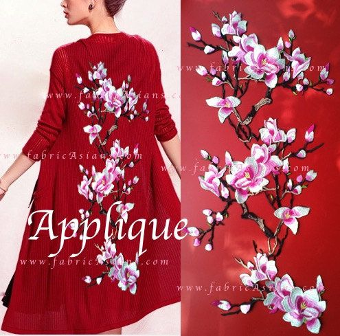 Floral embroidery. Cherry Blossom. Embroidered Patch. One set per unit price. LA100031 red