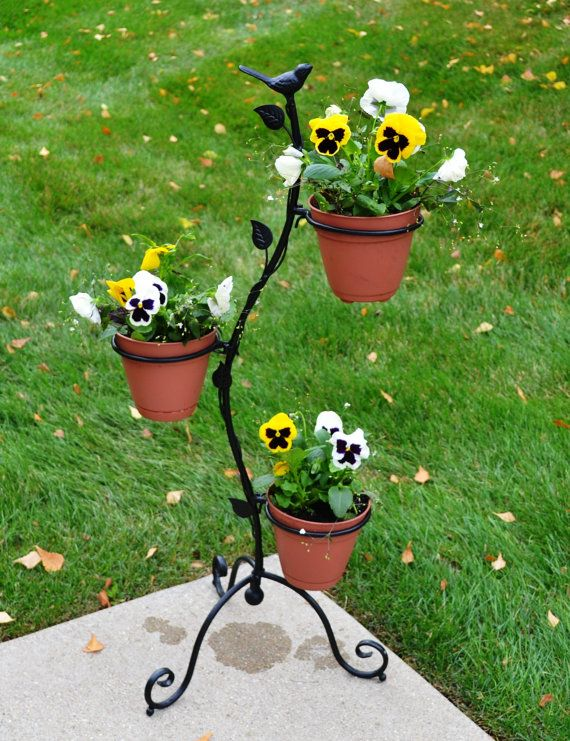 Three Pot Bird Branch Plant Stand by SunHillGardenDesigns on Etsy, $24.99