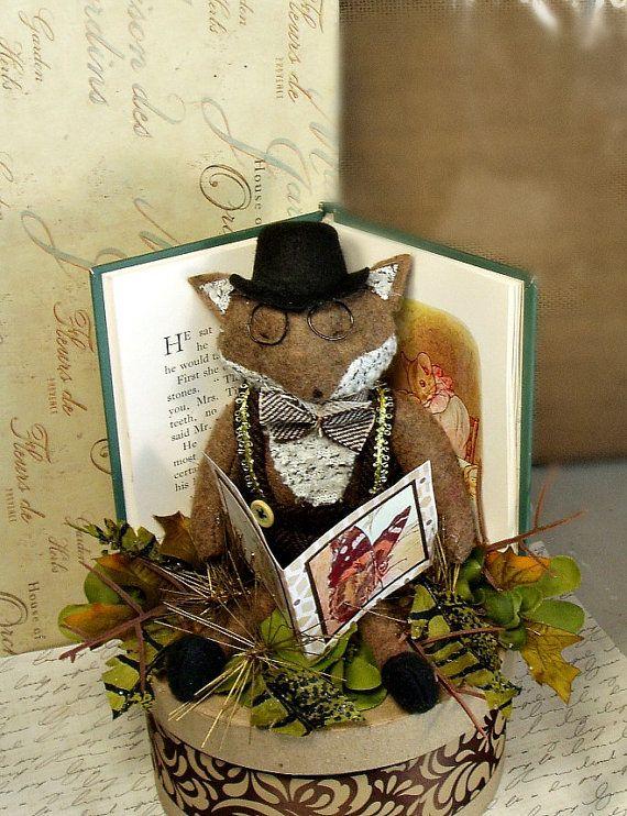 Fox reading a book cake topper book club by sugarcookiedolls, $63.00