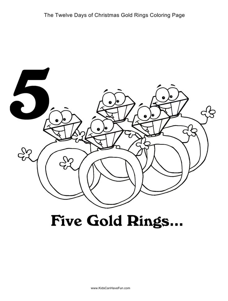 12 Days Of Christmas Five Gold Rings Coloring Page Kidscanhavefun