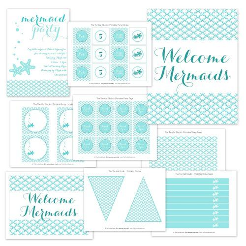 Mermaid Printable Party Collection from The TomKat Studio Shop www.shoptomkat.com
