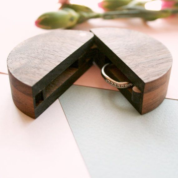 Round wooden ring box - Ring Box Wedding - Ring holder for ring bearer - handcrafted wooden box with lid - walnut and copper - wedding box