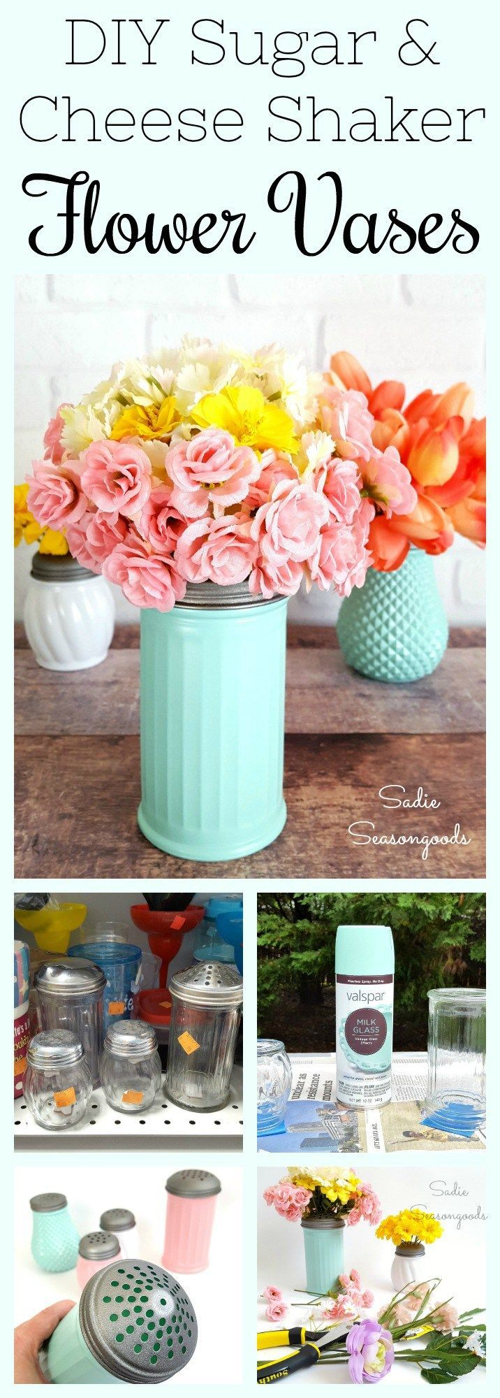 Some people see a cheese or sugar shaker, but me? I see a vase with a built in flower frog!! From the dollar store or thrift shop, cheese & sugar shakers are pretty common, but they really are the perfect way to arrange flowers! Ideal for a DIY wedding on a budget...or really, just party or home decor. I gave mine a milk glass paint job to hide the stems and they've been repurposed and upcycled into a fun and easy craft project. #SadieSeasongoods / www.sadieseasongoods.com