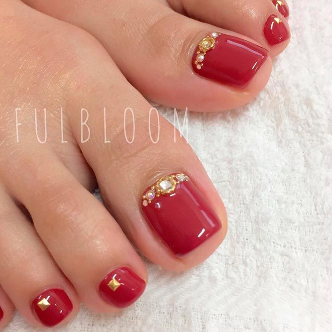 21 Chic Toe Nail Designs to Complete Your Image ❤ Gorgeous Red Polishes for the Perfect Pedicure picture 1 ❤ Next time you go to the nail salon pick the most glamorous toe nail design to show off how cool you are. Get the inspo here. https://naildesignsjournal.com/chic-toe-nail-designs/ #naildesignsjournal #nails