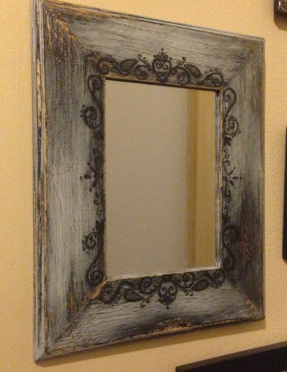Hand Painted Rustic Mirror on Etsy, $25.00 Kinda cool
