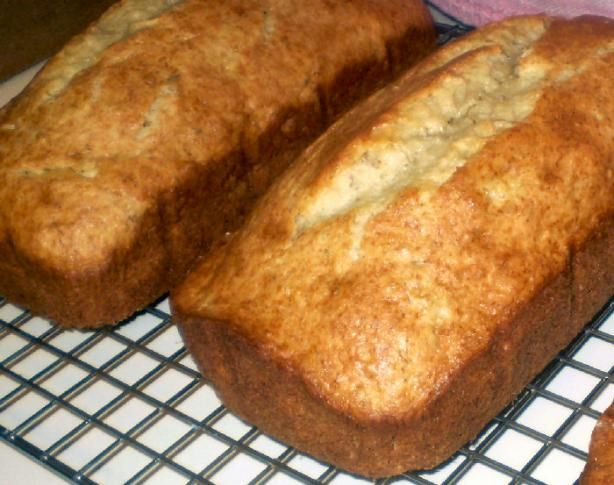 Cake Mix Banana Bread - 2 loaves - 5 ingredients  Used four bananas. Baked in a bundt pan. Added cinnamon and a sprinkling of brown sugar in the bottom of the pan. Tossed in half a pint of blueberries (coated them in flour first). Would have used more blueberries if I'd had them. Turned out absolutely delish!