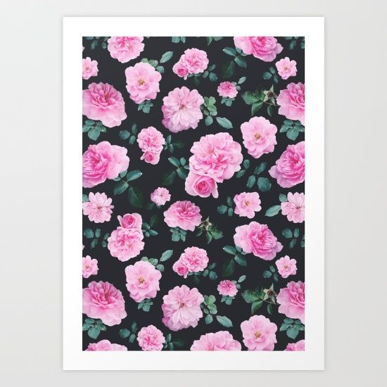 Pink vintage roses pattern, photographed and designed on a grey background. Romantic and lovely!